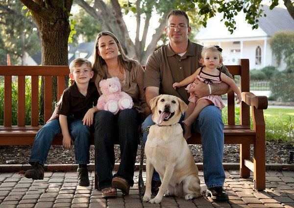 Stacy Crews with her husband Paul, her two living children, Cole and Caitlyn and her dog Roxy